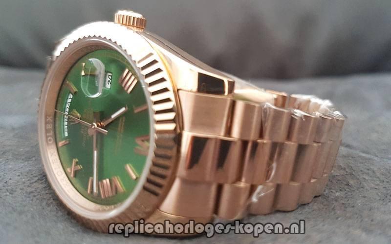 970017a6c28 Replica Rolex Daydate 40 Rosé Goud Groene Wijzerplaat (Nieuwste)